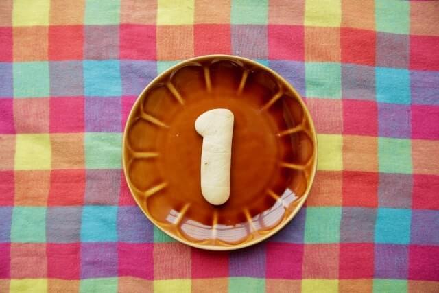 お皿の上に1の文字