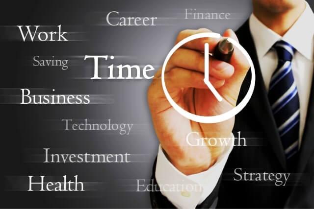 時計の絵を描くビジネスマン