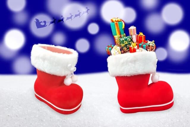 クリスマスブーツ2個並んでいる