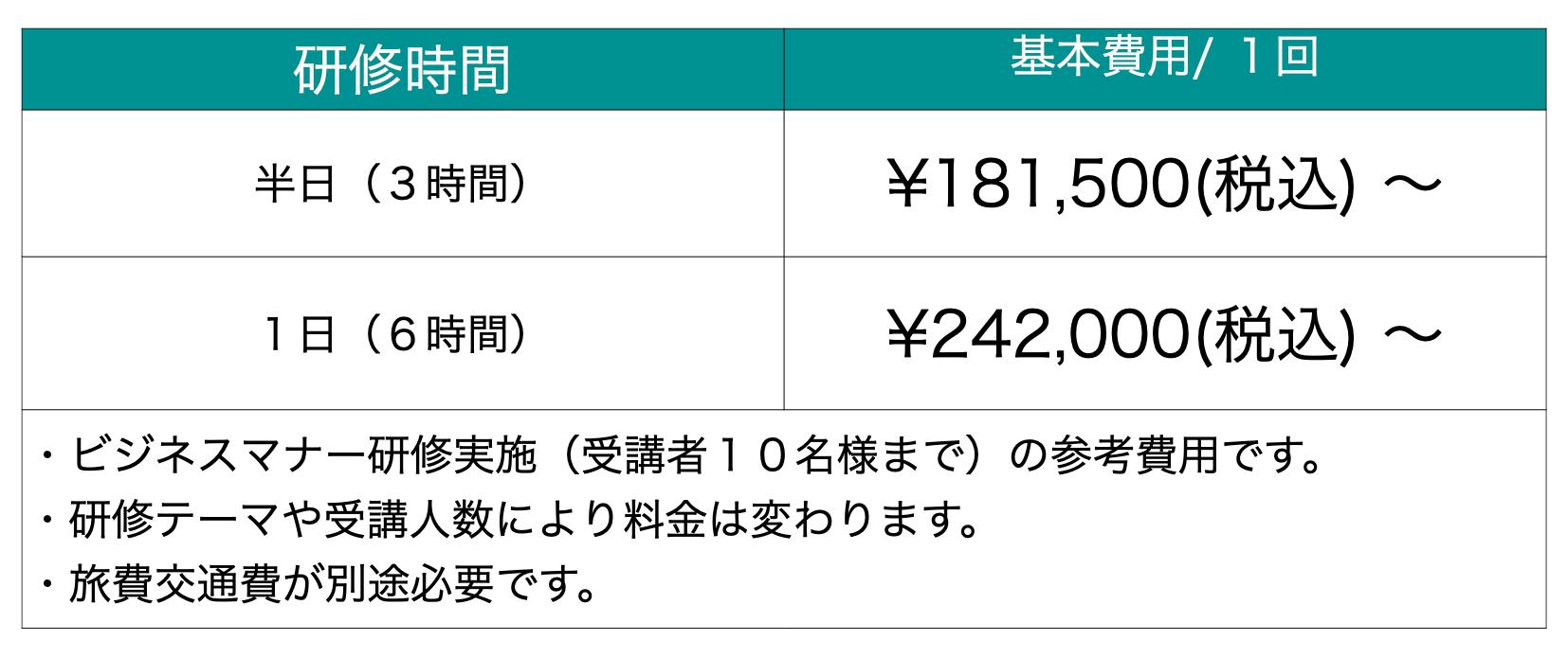 研修価格表